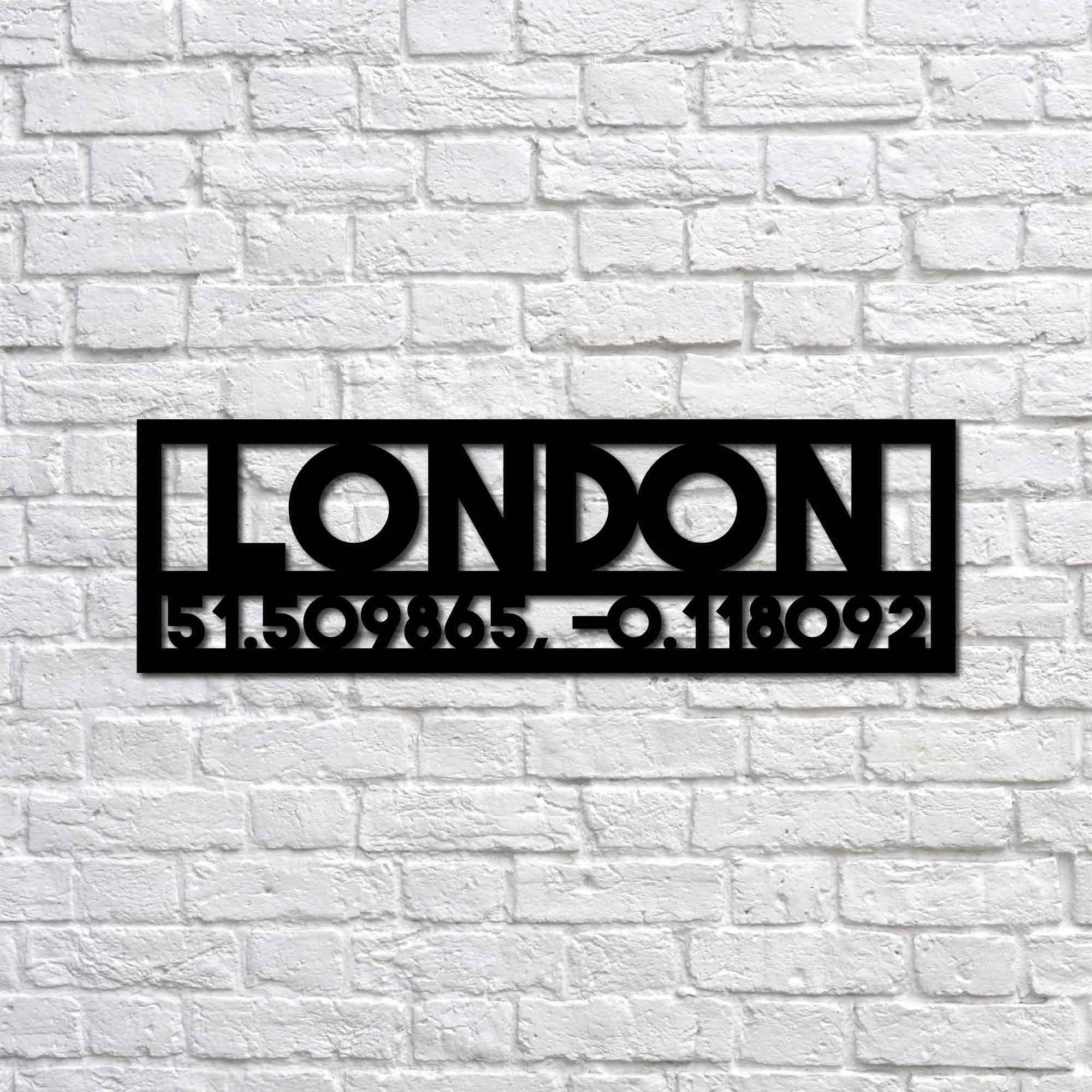 London and Coordinates – Metal Wall Art