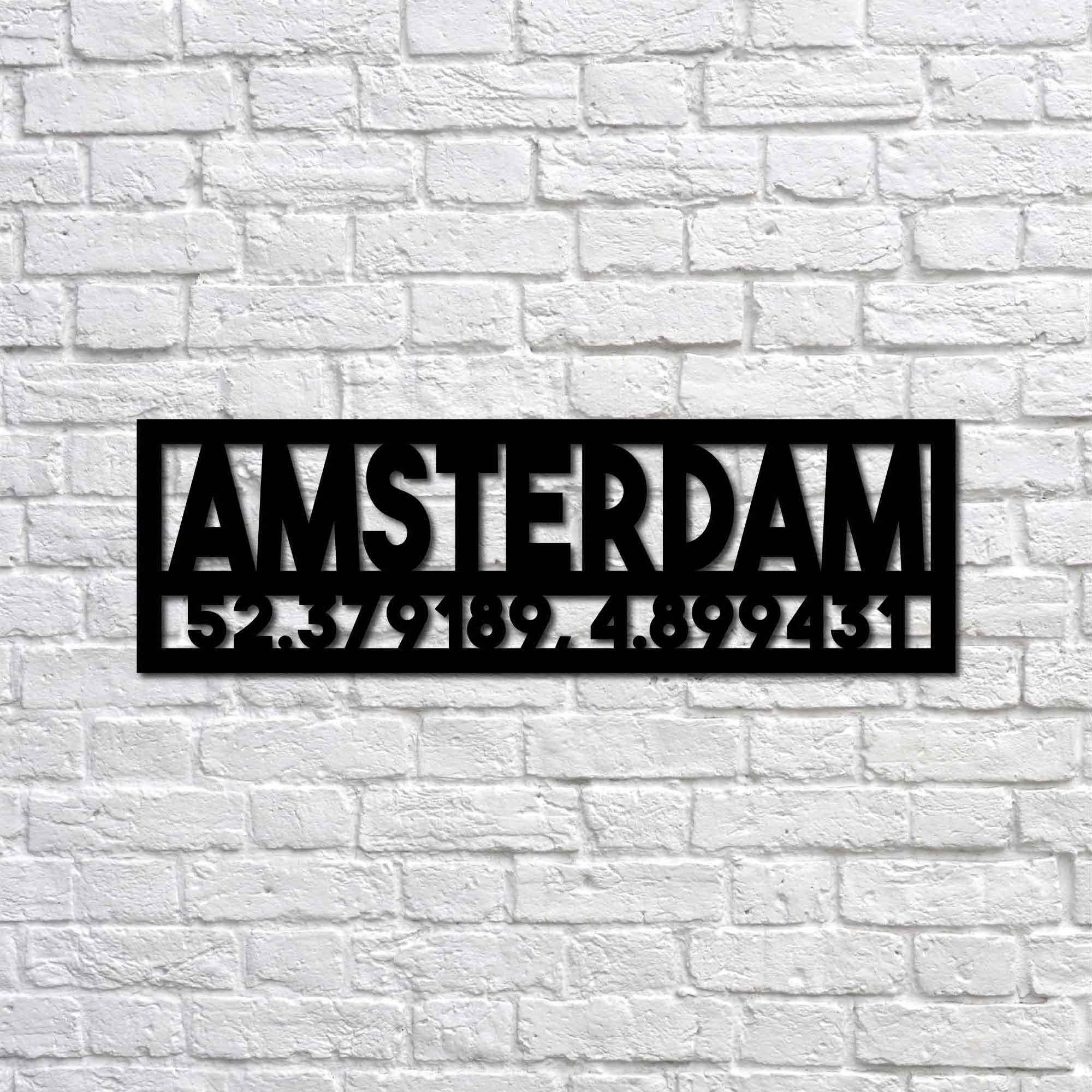 Amsterdam and Coordinates – Metal Wall Art