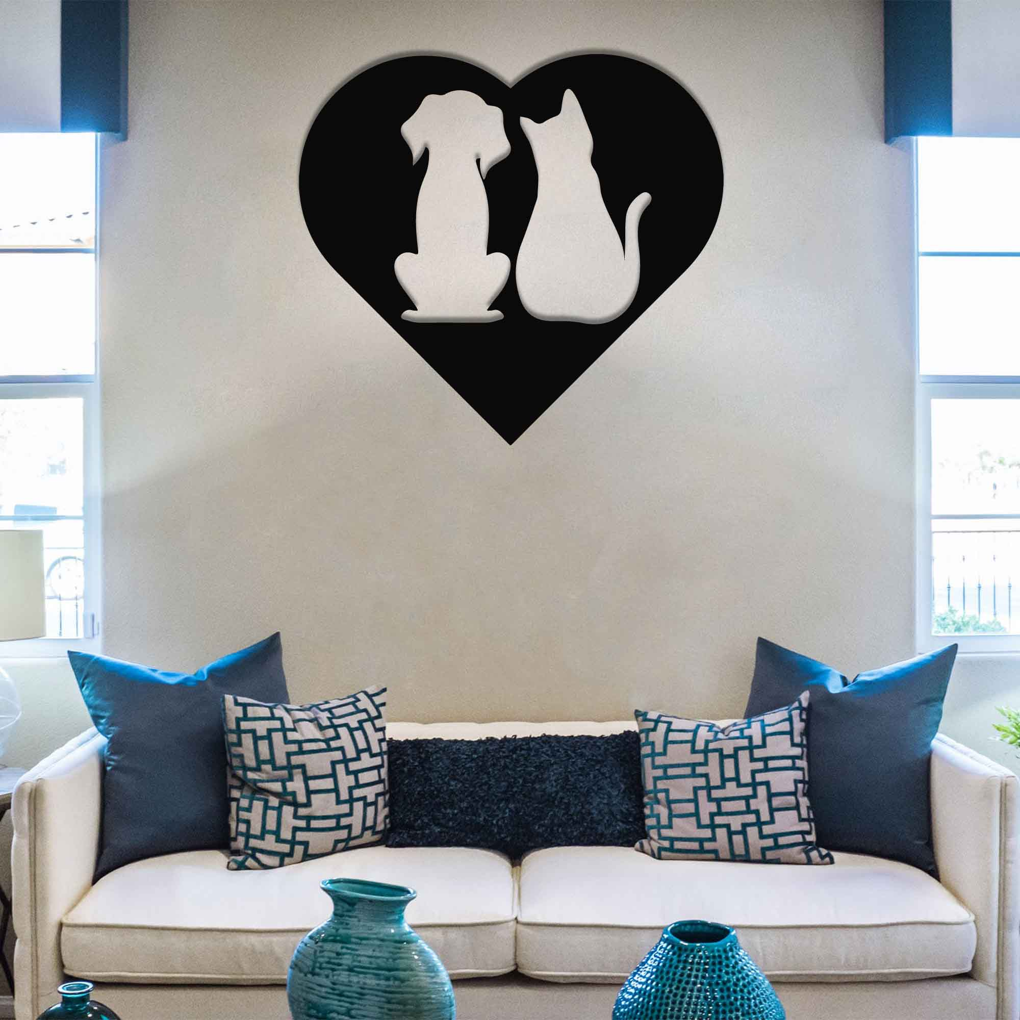 Cat and Dog Love – Metal Wall Art
