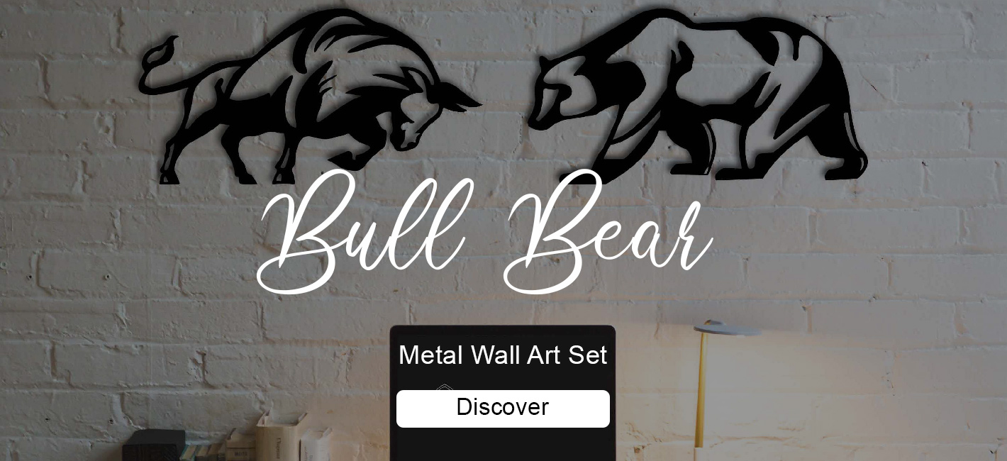 Bull and Bear Metal Wall Art Set